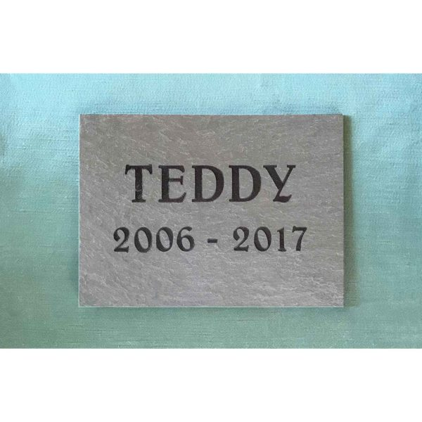 small slate tile Teddy, text only