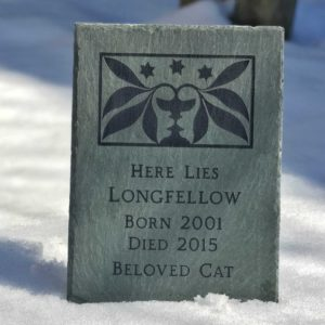 Urn & Leaves chipped-edge slate memorial
