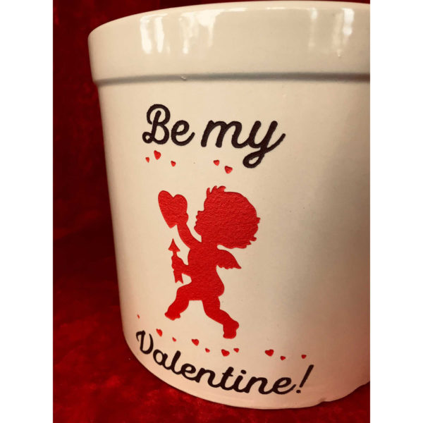 Be My Valentine 2-gallon crock (close-up)